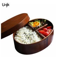 Urijk Holz Mittagessen Boxs Lebensmittelbehälter Japanischen Stil Bento Lunchbox für Kinder Schule Geschirr Schüssel Boxen Reiseveranstalter