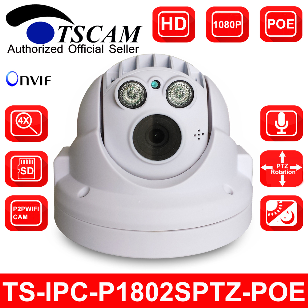 bilder für TSCAM SP-P1802SPTZ-POE neue ONVIF Full HD 1080 P 2MP MINI PTZ Dome cctv-ip-kamera poe pan/tilt 4-fach optischen zoom micro sd slot P2P