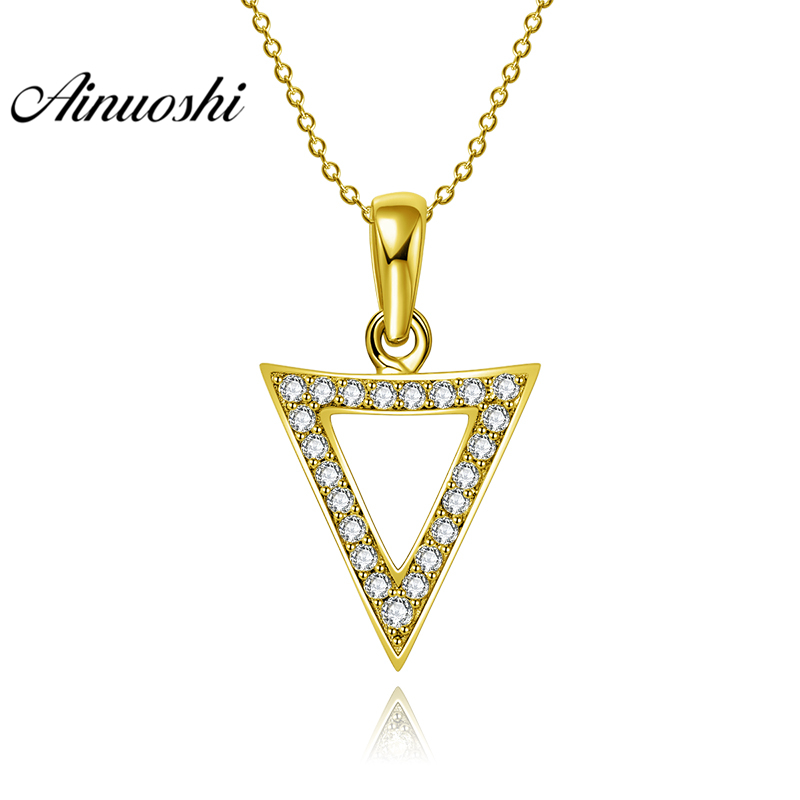 AINUOSHI 10K Solid Yellow Gold Pendant Hollow Arrow Pendant SONA Diamond Women Men Jewelry Triangle Arrow Shape Separate Pendant fashion rhinestone hollow out tortile cross shape pendant necklace for men