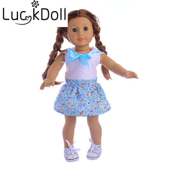 Luckdoll bow White T-shirt splice flower dress Fit18-inch american doll and 43-cm Doll,kid best gift