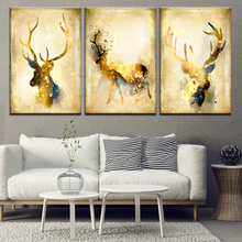 Wall Art Pictures For Living Room Home Decor Watercolor Elk Canvas Painting Nordic Style Animals Deer Bedroom decor Print Poster