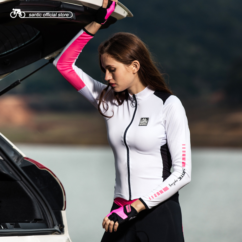 Santic Women Cycling Jerseys Long Sleeve Pro Fit Road Bike MTB Top Jerseys Spring Summer Cycling Tops Asian Size S 2XL L8C01093