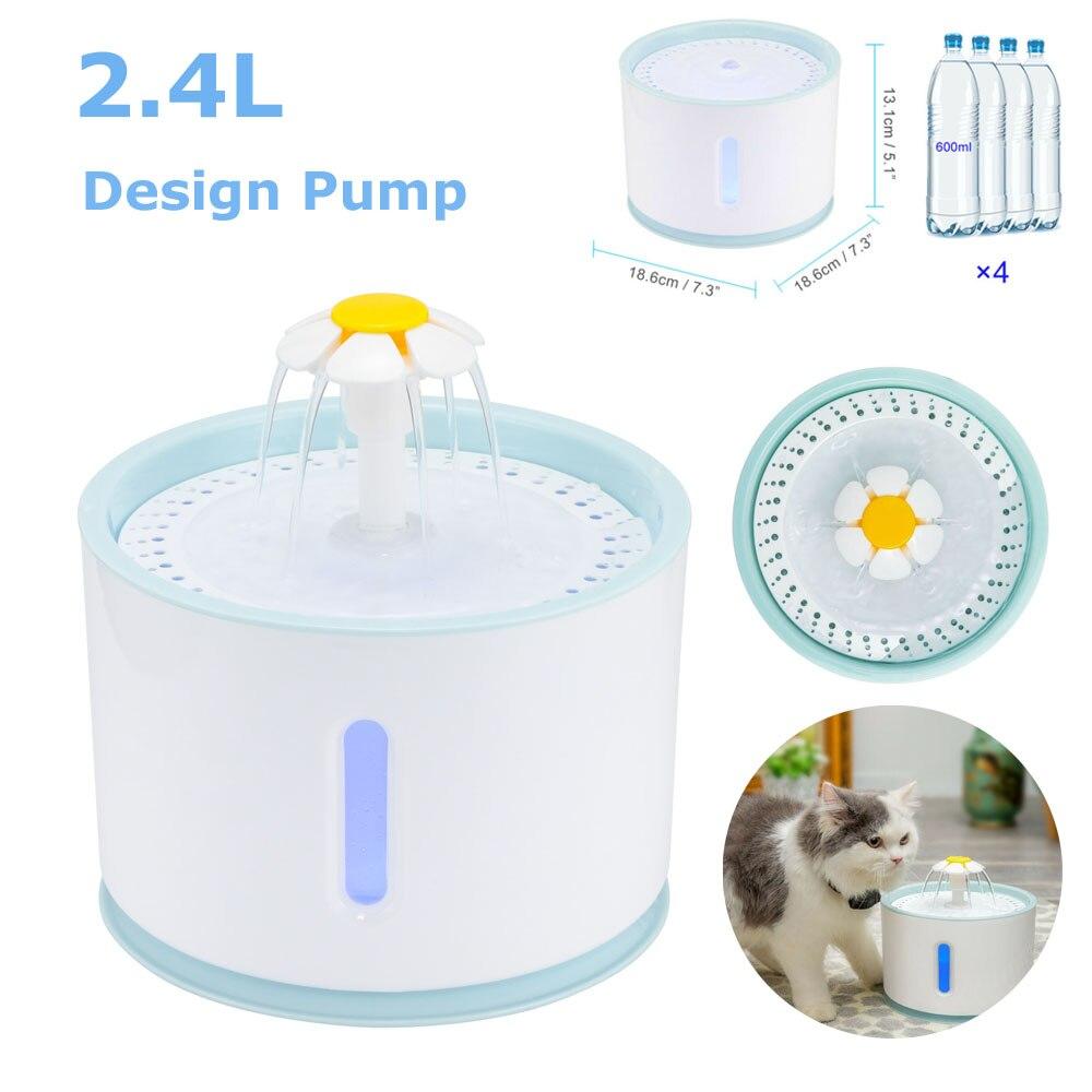 Водяной фонтан со сменной фильтрацией, автоматический питьевой фонтан с активированным углем, 2,4 л, с USB-кабелем