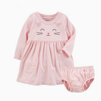 NOVATX Children Clothes Baby Girls Dress New Fashion Long Sleeve Knee Length Dress With Underwear For