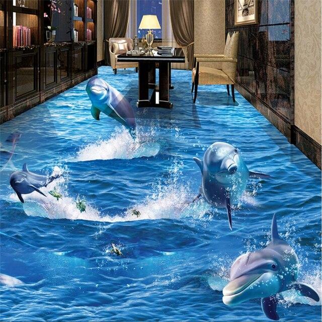 beibehang papier peint usure pais pvc stickers muraux dauphin hors de l 39 eau mer monde 3d st r o. Black Bedroom Furniture Sets. Home Design Ideas