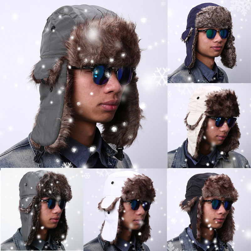 Winter Hat Bomber Hats For Men Women Outdoor Thickening Cotton Fur Winter Earflap Keep Warm Snow Caps Russian Ski Bomber Hats