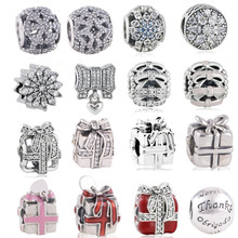 Christmas gift fine  jewelry Openwork bow snowflake charms 925 sterling silver jewelry beads fit bracelet necklace DIY making