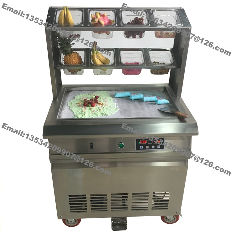 Free Shipping Stainless Steel 110v 220v Electric 64x40cm Fry Pan Thai Fried Ice Cream Yogurt Roll Maker Machine With 8 Boxes
