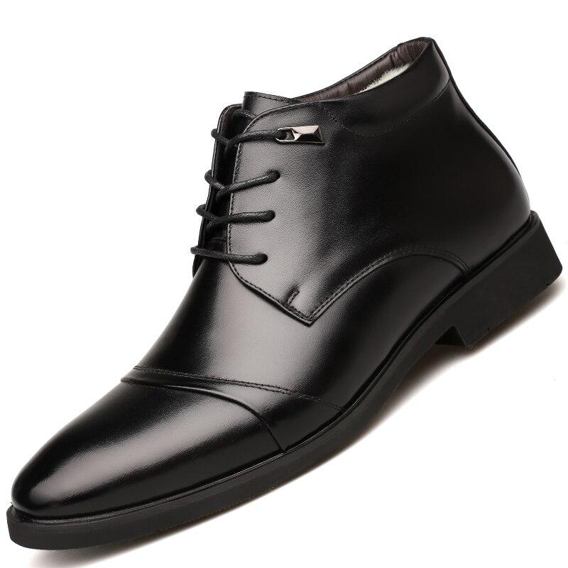 Cuir De Qualité En Hommes Chaussons jlf86054br D'hiver Chaud Osco Noir Homme Chaussures Formelle Fourrure Haute D'affaires Bottes Jlf86054bl Cheville Bureau Lacent qEfnwOFPn