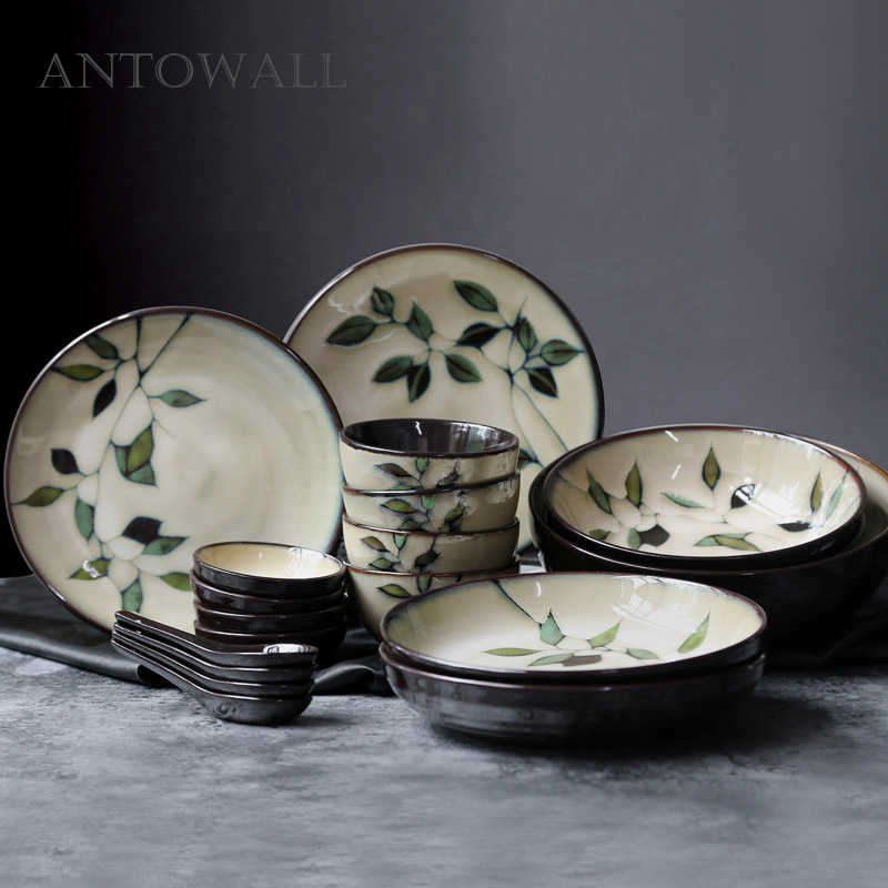 ANTOWALL Japanese Korean Ceramic Handpainted Plant Tableware Set Soup Deep Plate Flat Dish Noodle Soup Rice Bowl Sauce Dish