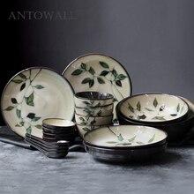 ANTOWALL Japanese Korean Ceramic Handpainted Plant Tableware Set Soup Deep Plate Flat Dish Noodle Soup Rice Bowl Sauce Dish