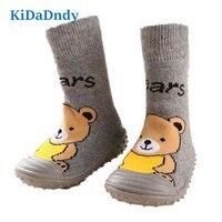 Kidadndy Ursos Meias Bebê Recém nascido Da Criança Sapatos Piso Interior Antiderrapante Meias de Algodão Do Bebê Com Sola De Borracha Meias Infantis Ws925LL|baby socks newborn|baby socks|socks newborn -