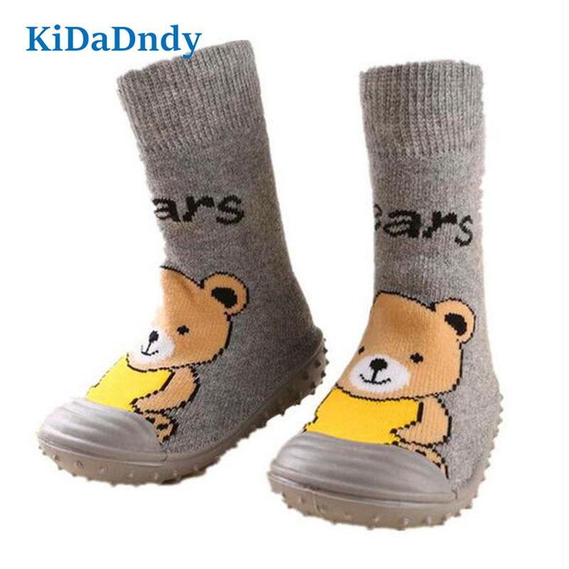 kidadndy Bears Baby Socks Newborn Toddler Indendørs Gulv Sko Anti Slip Bomuld Baby Sokker Med Gummi Soler Spædbørn Sokker Ws925LL