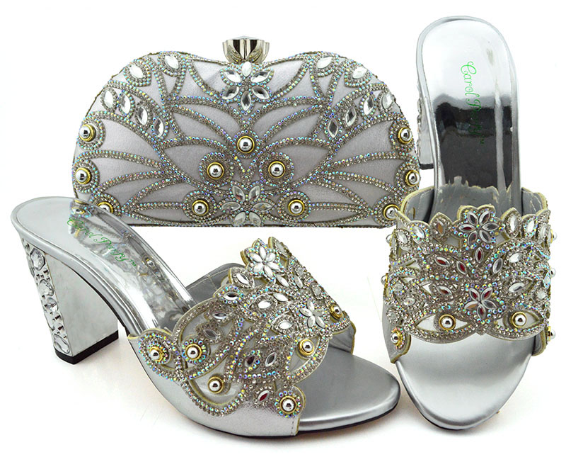Big Pumps Shoes And Bag Silver African shoes and bag set for party Italian shoes with matching bag design ladies bag with stonesBig Pumps Shoes And Bag Silver African shoes and bag set for party Italian shoes with matching bag design ladies bag with stones