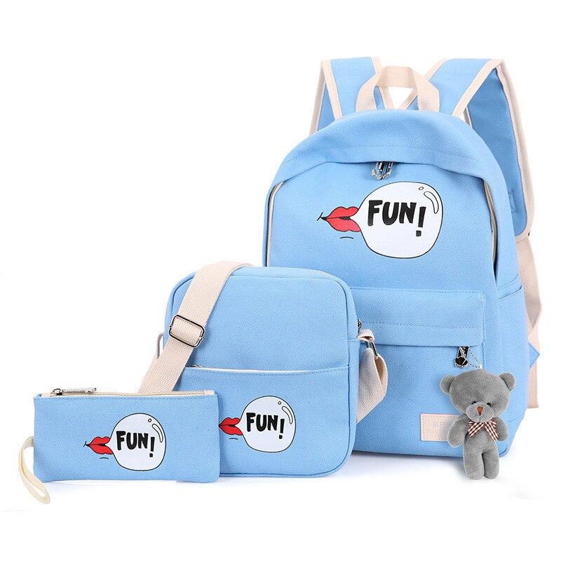 fondhere 3 Pcs/set 2017 Women Canvas Backpack Set FUN Lips Printing School Bags For Teenagers Girls Bookbags With Cute Bear