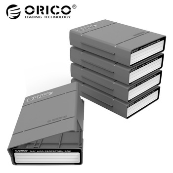 ORICO 3.5 inch Hard Drive Protective Box Portable External HDD Pouch With Waterproof Function For WD Seagate HDD Case-5PCS Grey