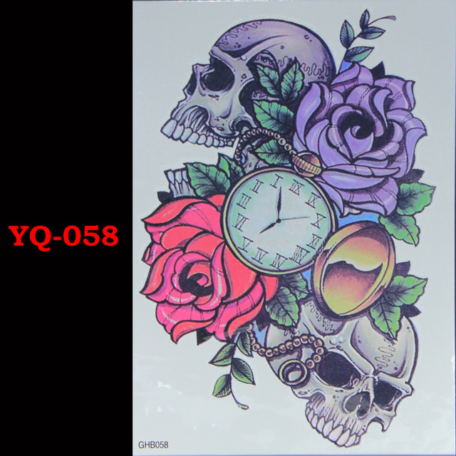Red Purple Roses Skeletons Flash Tattoo Cool Tattoo Handsome