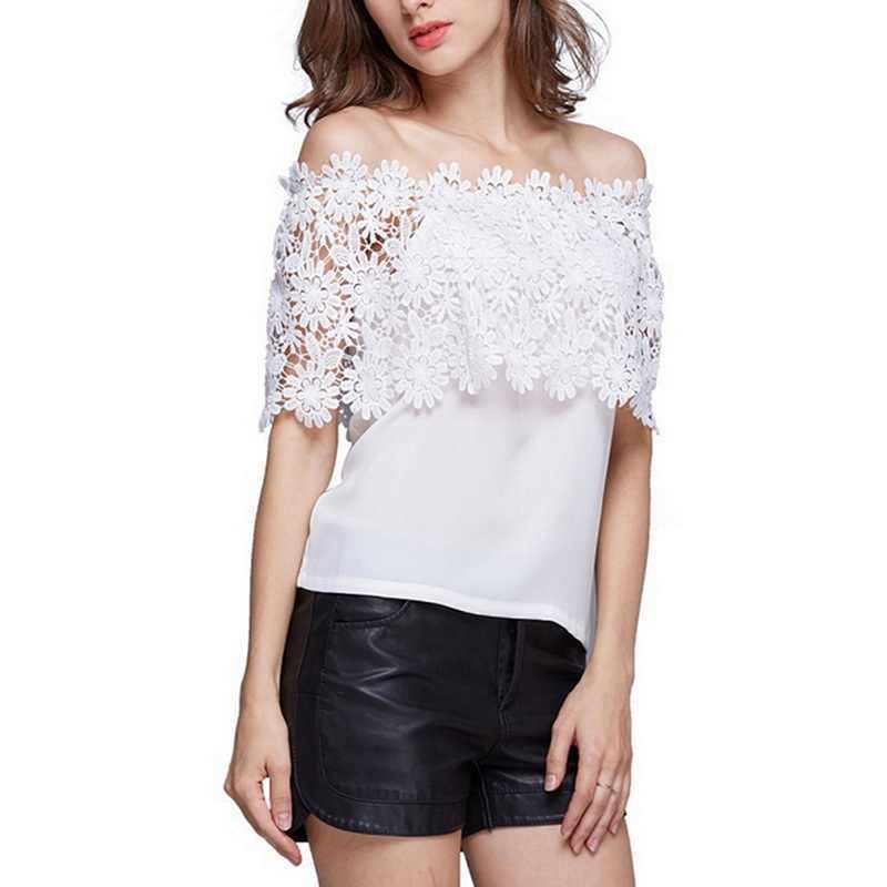 CALOFEE オフショルダーかぎ針シフォン Tシャツ女性のレースのシャツパッチワーク固体 Tシャツスリムシャツ半袖夏トップ