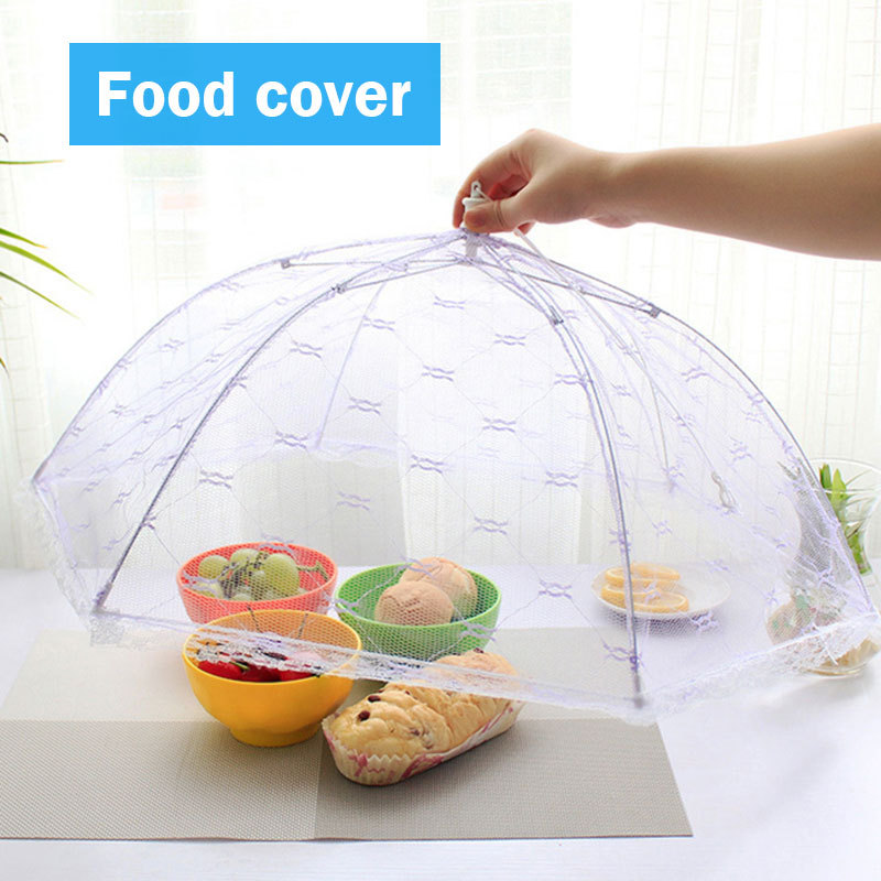 Kitchen Food Umbrella Cover Lace Mesh Screen Cover Collapsible Anti Fly Mosquito Picnic Large Food Covers Kitchen Accessories
