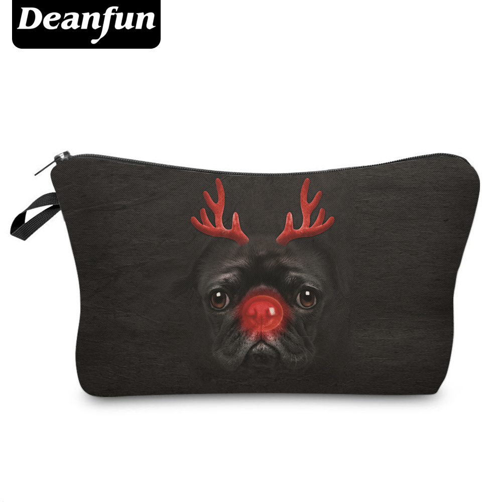 Deanfun Cosmetic Bags 3D Printing Christmas Pug Makeup for Girls Gift Travelling Necessaries Dropshipping 50165