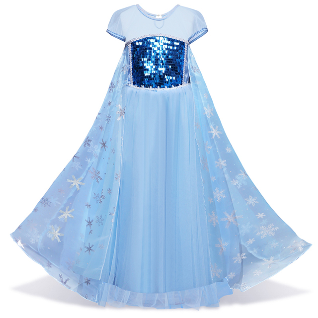04f1b485c90 Baby Girls Dresses Kid Clothes Princess Anna Elsa Cosplay Costume Flower  Girl Halloween Dress Party Children