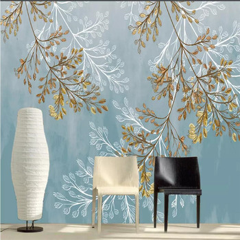 Hand painted twig leaves Nordic TV background wall professional production mural wallpaper custom poster photo wall hand painted color oil painting background wall professional production mural factory wholesale wallpaper poster photo wall