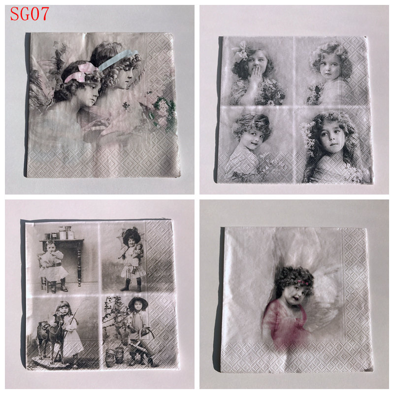 Vintage angels 4 Single paper decoupage napkins black and white Sagen -507