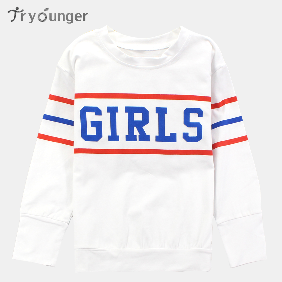 Tryounger Children Clothing 2018 Spring Kids Girl T Shirts Long Sleeve Girl Tee Letter Printed Kids Girls Tshirt 6 8 10 12 Year