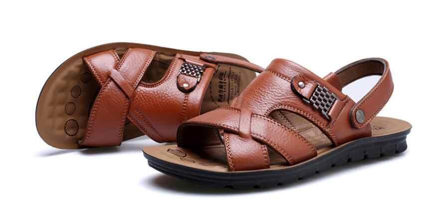 Mens sandálias de couro genuíno calçados casuais dos homens sandálias de verão abertos sapatos sandálias dos homens da praia plus size shoes chaussure homme bona
