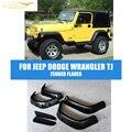 6 pçs/set ABS Preto Grande Bolso Lateral Auto Car Fender Flares Roda Archs Apto Para Dodge Jeep Wrangler TJ 1997-2006