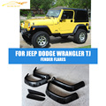 6pcs/SET ABS Black Wide Pocket Auto Car Fender Flares Side Wheel Archs Fit For Jeep Dodge Wrangler TJ 1997-2006