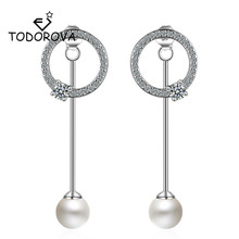 Todorova Korean Front Back Double Sided Simulated Pearl CZ Zircon Circle Earrings for Women Elegant Tassel Pendientes Oorbellen