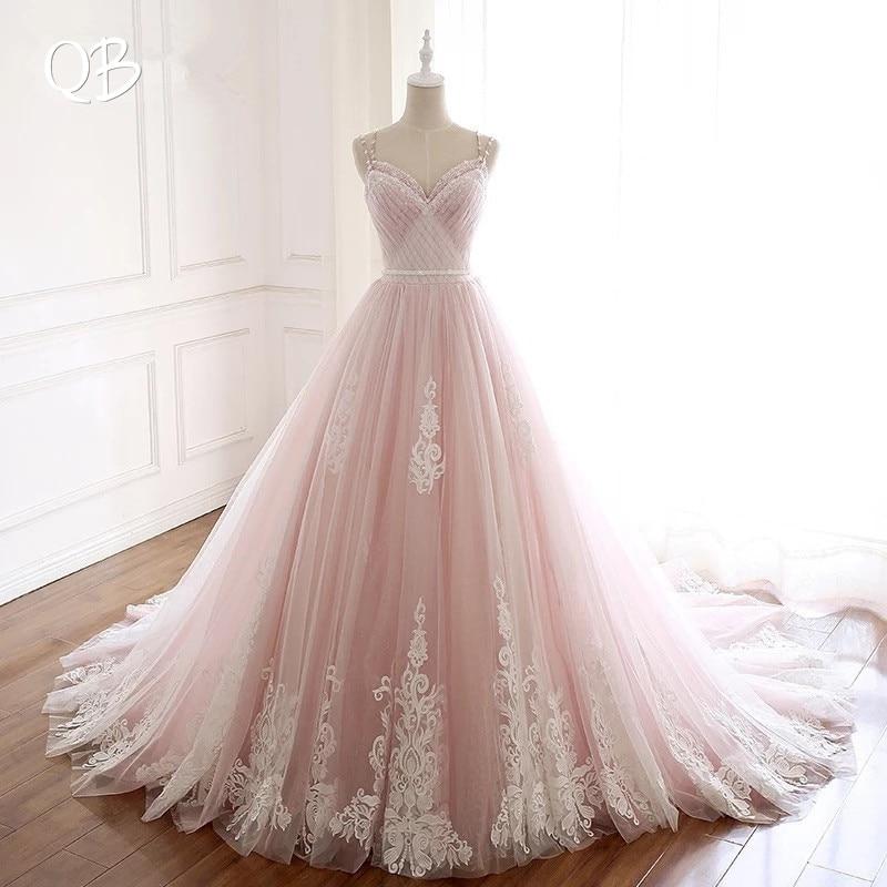 100% Photo réelle robe de bal chérie dos nu dentelle Tulle perlé formelle rose robes de mariée robes de Novia sur mesure DW213