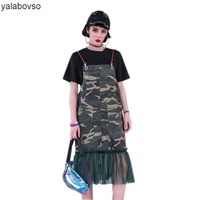 2018 Streetwear styles Irregular Mesh Dresses Loose camouflag Straight Dress for woman with Spaghetti strap A1115228 Z20