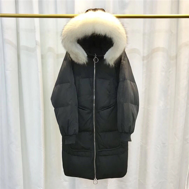 Mf060 Real Collar White Bas Épais Fourrure De Col Longue Mode À Couleur 2019 Grand Survêtement Casual Mince Section Capuchon Nouveau Lâche Manteau Fur Qualité False Colla Veste Haute Collar white black Le Vers W4Sygyc