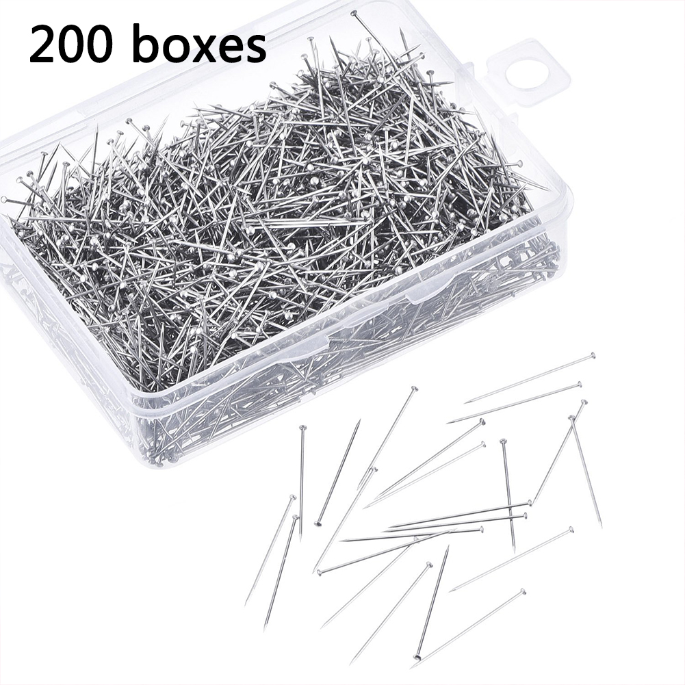 200Pcs/Box With Box Craft Silver Head Pins Needle Jewelry Making Dressmaker Sewing Stainless Steel 28mm Accessories Fine Satin(China)