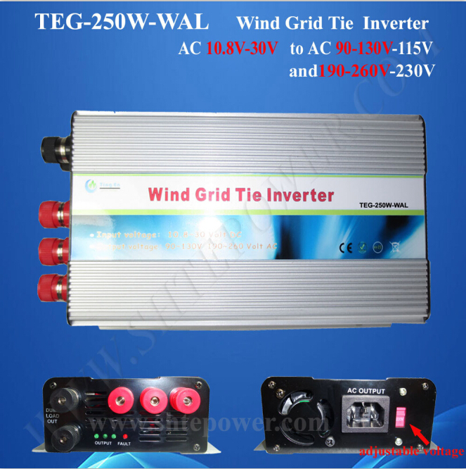 250w wind inverter 10.8-30v ac input grid tie 90-130V/190-260V ac output 300w solar grid on tie inverter dc 10 8 30v input to two voltage ac output 90 130v 190 260v choice