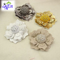 4 colors leather flower shoe clip for flip flops with crystal buckle N660