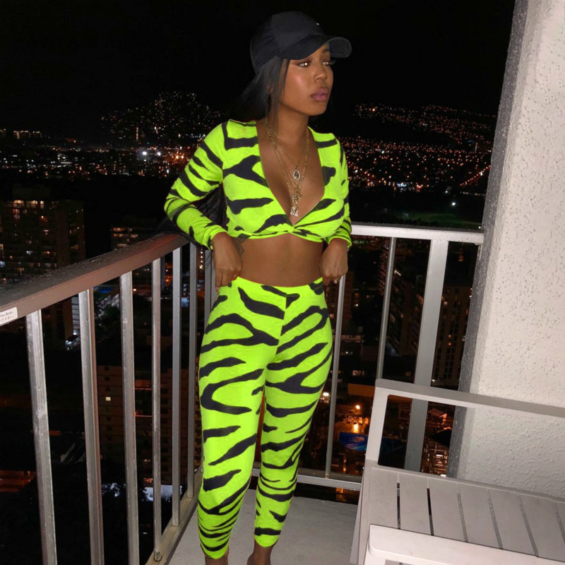 ANJAMANOR Sexy 2 Piece Set Women Matching Sets Club Outfits Zebra Print Neon Green Two Piece Set Top And Pants Fall 2020 D54AE21