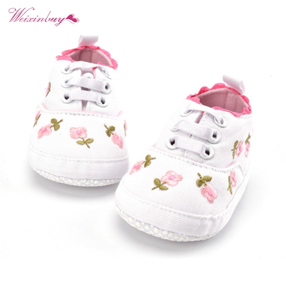 WEIXINBUY Baby Girl Shoes White Lace Floral Embroidered Soft Shoes Prewalker Walking Toddler Kids Shoes