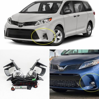 JanDeNing For 2018 Toyota Sienna Complete Kit Fog Light Lamp /1Set W/ Switch Wire