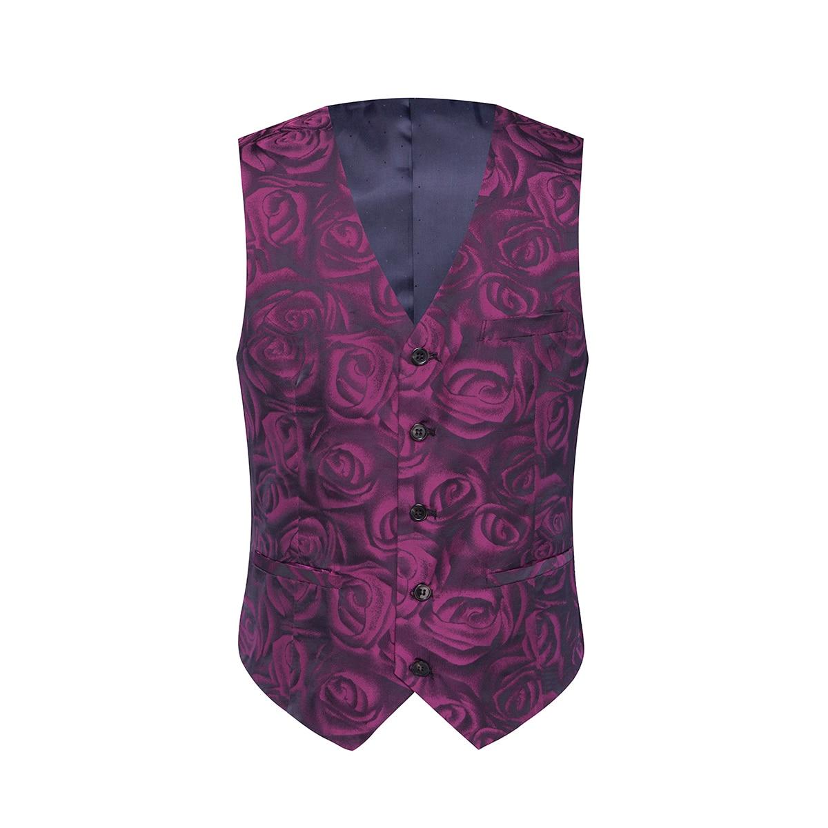 YUNCLOS Rose Printed Men Suit Fashion Party Wedding Suit For Men 3 Pieces Slim Fit Gentleman Suits Terno Masculino