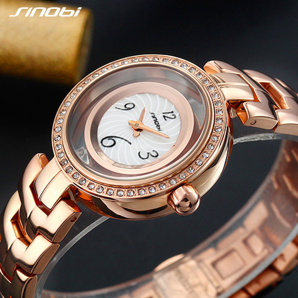 SINOBI New High Quality Stainless Steel Quartz Watch Women Luxury Shell Dial Women Watches 2018 Party Ladies Watch Montre Femme weiqin angel silver women watches luxury high quality water resistant montre femme stainless steel 2017 dress woman wrist watch