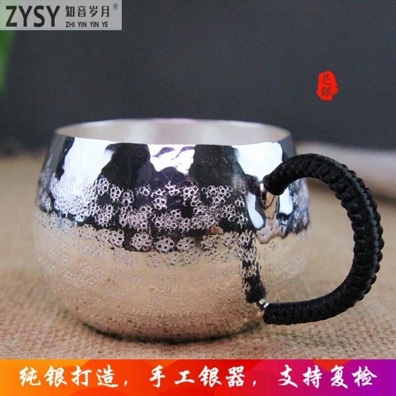 Alta qualidade 999 de Prata feita de Chá xícara de Chá Kung Fu presente para a família e amigos de cozinha escritório jogo de chá