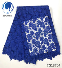 Beautifical BLue Guipure lace fabric Embroidery Nigerian chemical 2018 Hot sale water soluble 7G137