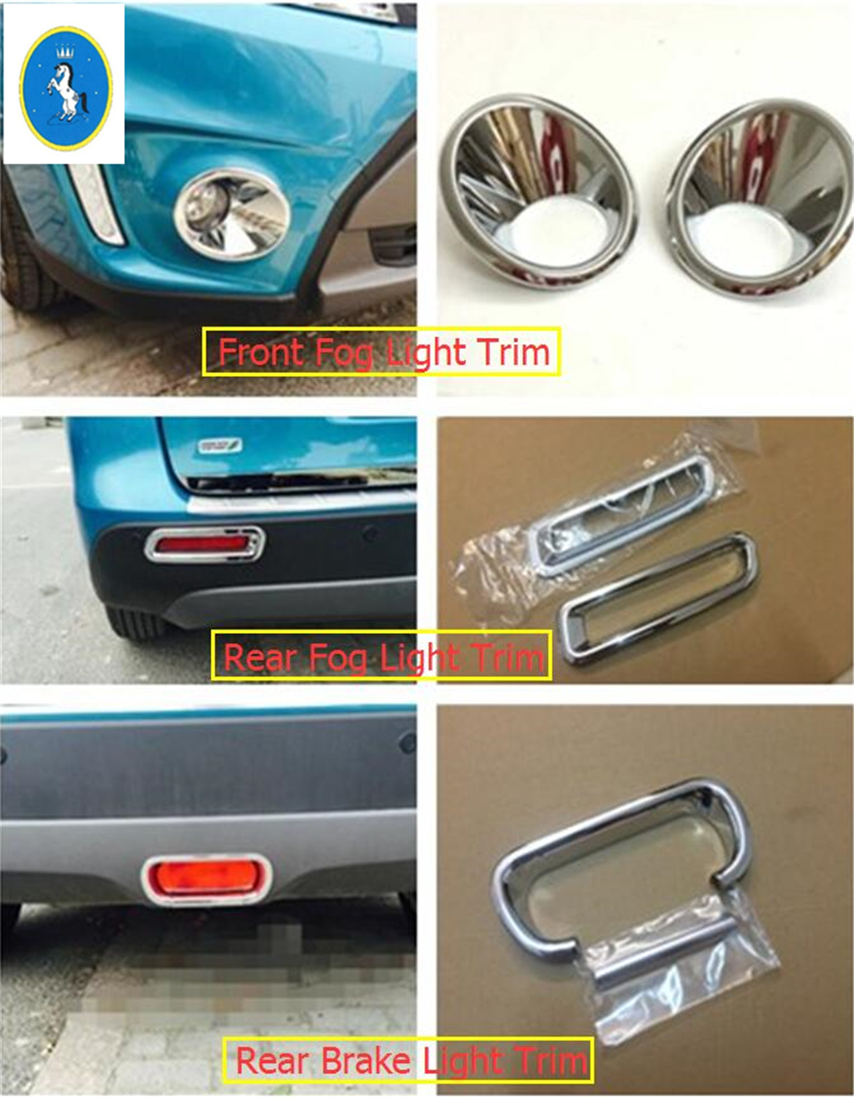 For Suzuki Vitara Escudo 2015 2016 2017 2018 ABS Chrome Front Head / Rear Fog / Tail Brake Light Lamp Molding Garnish Cover Trim