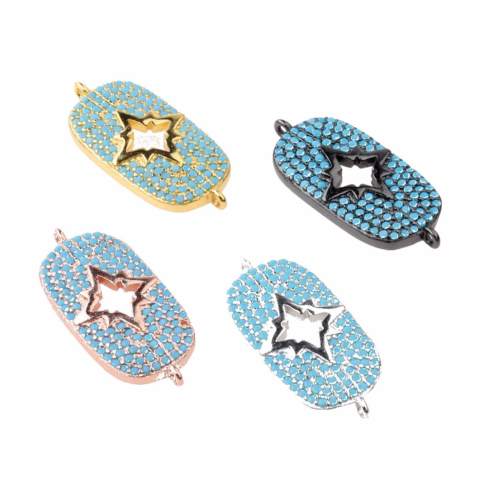 Hot Sale Boho Style CZ Micro Pave star hollow Connector with double loops can make into nacklace jewelry bracelets accessories