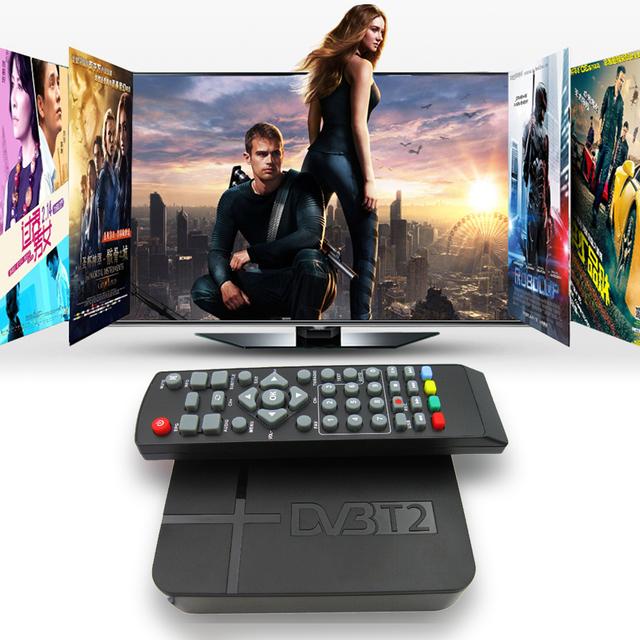 DVB-T2 Receptor Digital Terrestre DVB-T STB TV Box HD 1080 P K2 de Vídeo MPEG4 PVR Receptor + Soporte de Control Remoto 3D