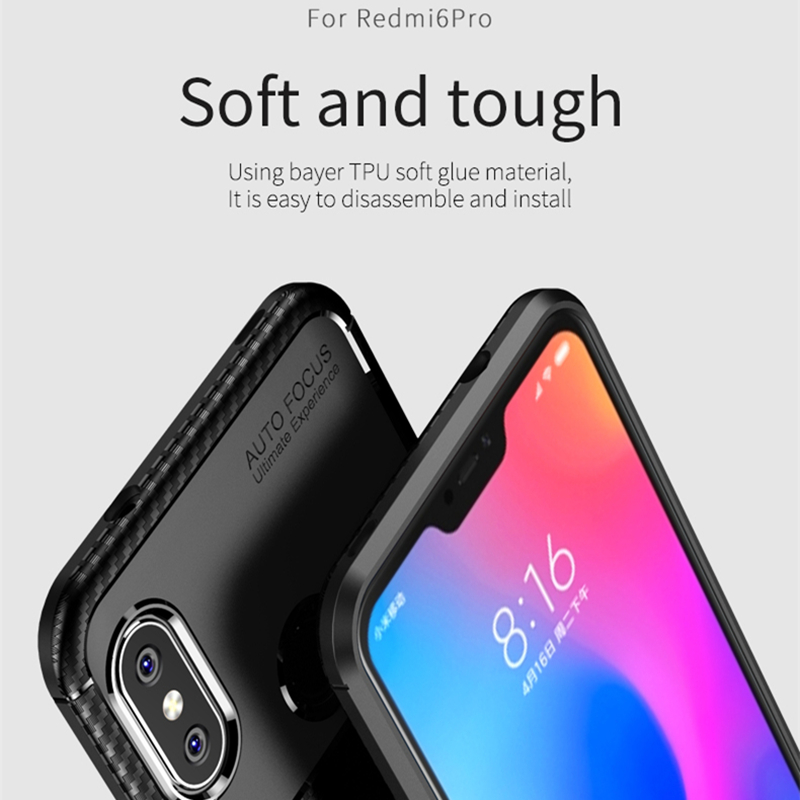for Xiaomi Redmi 6 Pro Case IPAKY Redmi 6 Pro Case Silicone TPU Carbon Fiber Back Hybrid Armor Shockproof for Redmi 6 Pro Case in Fitted Cases from Cellphones Telecommunications