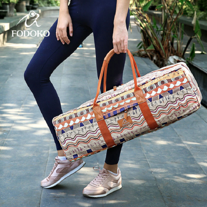 Canvas Sports Bag For Women Fitness Yoga Backpack Mat Pilates Case Sport Carriers <10mm